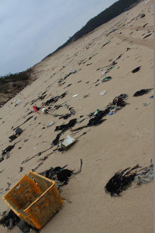 琴引浜のゴミは一目瞭然