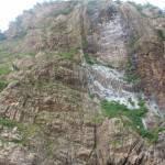 海鳥たちの糞で白くなった岩