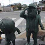 隠岐へ向かう鬼太郎親子と水木しげる先生 ブロンズ像
