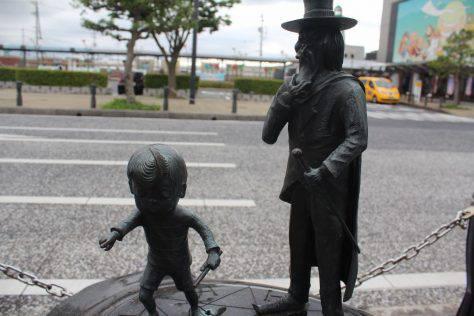 魔法陣の悪魔くん(山田真吾)とメフィスト ブロンズ像